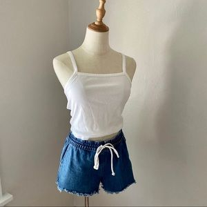 Aerie Drawstring Raw Hem Denim Shorts